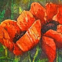 Watercolor batik painting - Glorious Red