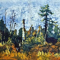 Lone Pine #4 - Watercolor Batik painting