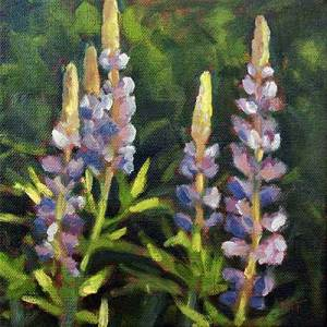 Lupines - small daily oil painting