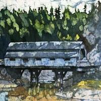 Watercolor batik painting - St. Martins Bridge