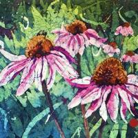 Watercolor batik painting - Cone Flowers