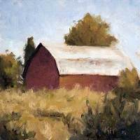 Country Barn - small daily oil painting