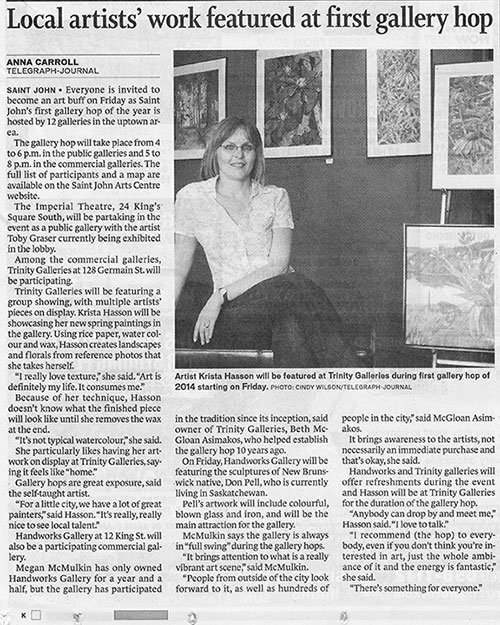 News Paper Article Featuring Krista Hasson (me) and the Gallery Hop!