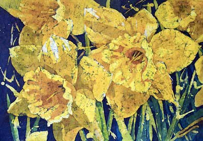 Watercolor batik painting - Daffodil Delight by artist Krista Hasson. It is an original watercolor on rice paper painting.