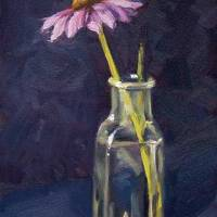 Coneflower in Bottle - small daily oil painting