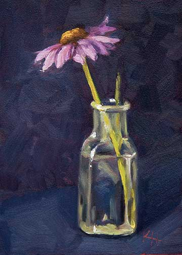 Cone Flower – Day 1 of 30 in 30 days painting challenge