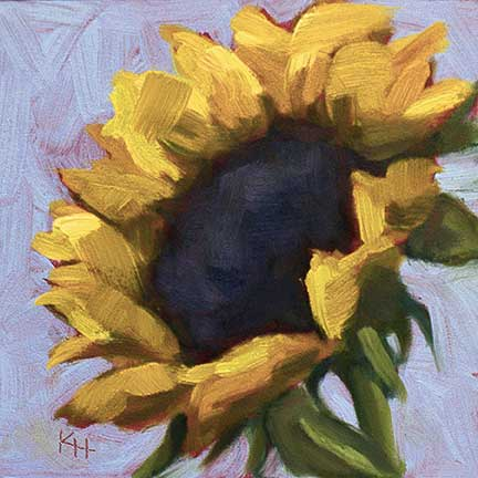 Sunflower #3 – Day 3 of 30 paintings in 30 days oil by Krista Hasson