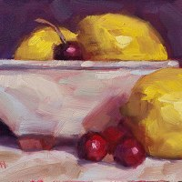 Lemons and Cherries - small daily oil painting