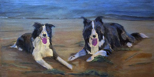 Update – Border Collies on the Beach Oil Commission WIP