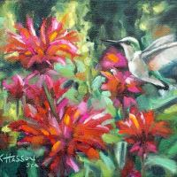 hummingbird garden oil painting by Krista Hasson