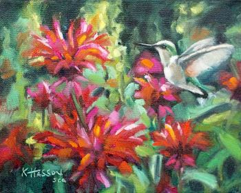 Female Ruby Throated Hummingbird bird oil painting by Krista Hasson