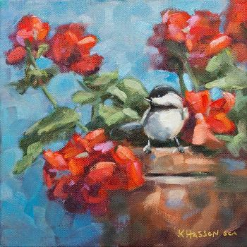 Chickadee on red Geraniums bird oil painting by Krista Hasson
