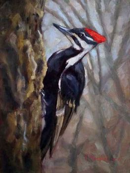 Pileated Woodpecker bird oil painting by Krista Hasson