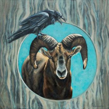 Crow and Ram Aries bird oil painting by Krista Hasson