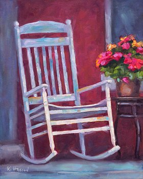 Rocking chair on porch oil painting by Krista Hasson