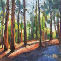 Forest Light oil painting by Krista Hasson