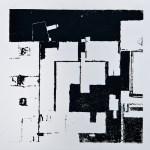 Krista Svalbonas - Wurzburg 1,blacksmith powder photo-serigraph on mylar, 9x9, 2013