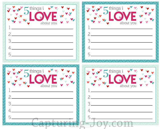 5 Things I Love About You Valentine Print Capturing Joy