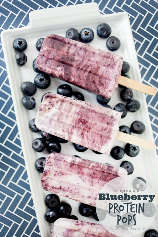 3 ingredient Blueberry Protein Pops, great frozen summer treat recipe