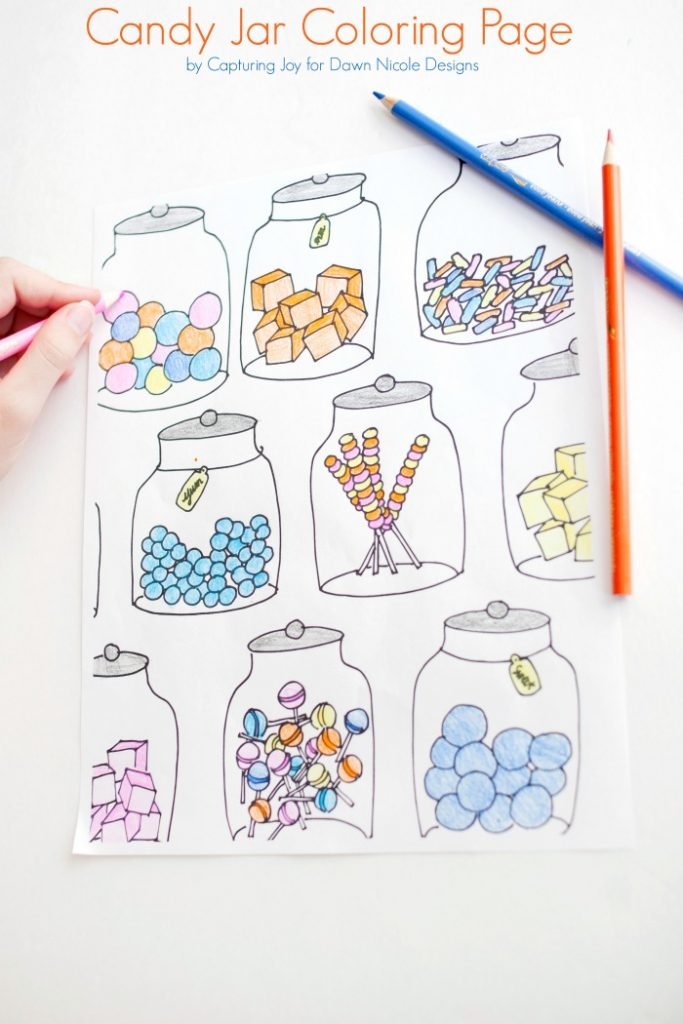 Candy Jar Free Coloring Page
