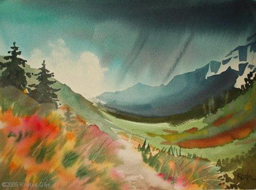 © Kristen Gilje 2005 Holden Lake Trail, Watercolor 10x14