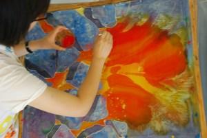 Jennifer's Ice, Carey Inst. Aug 2012 silk painting workshop