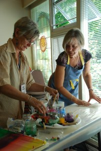 Edna and Hildie, Carey Inst. Aug 2012 silk painting workshop