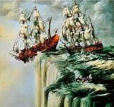 Ships sailing off the edge of the world -- a flat Earth.