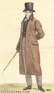 Regency Era Men's Fashion: a simpler overcoat