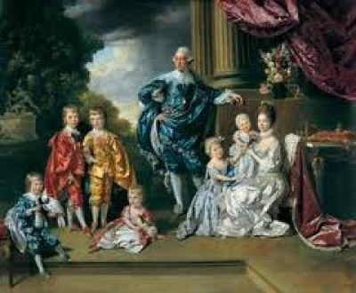 Regency Era Royal Family: Portrait of King George III of England, Queen Charlotte and their family