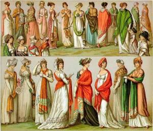 Regency Era Women's Fashion: A variety of Shawls in Early 19th Century France