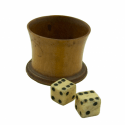 19th Century ivory or bone dice and wooden cup.