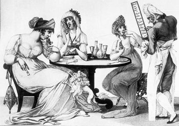 Fictional Foodie Favorites: Drawing of people eating ices at a confectionery.