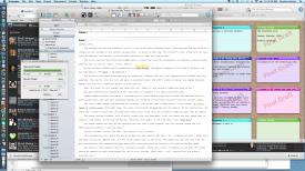 Screenshot of Scrivener and my desktop writing space.