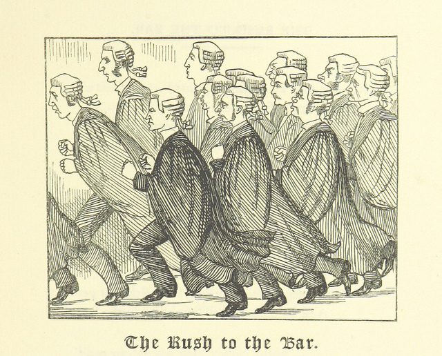 """""""The Rush to the Bar"""" from page 31 of 'Ballads of the Bench and Bar; or, Idle Lays of the Parliament House. 1882."""
