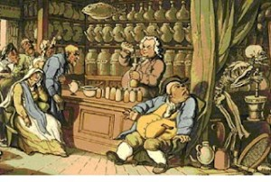 Thomas Rowlandson's illustration entitled Death and the Apothecary or The Quack Doctor.