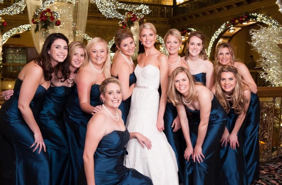 Brown Palace wedding bridesmaids christmas