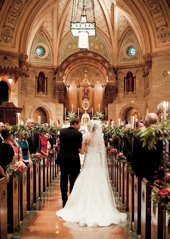 father walking bride aisle holy ghost church