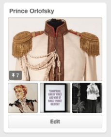 The beginning stages of my Prince Orlofsky Pinterest board.