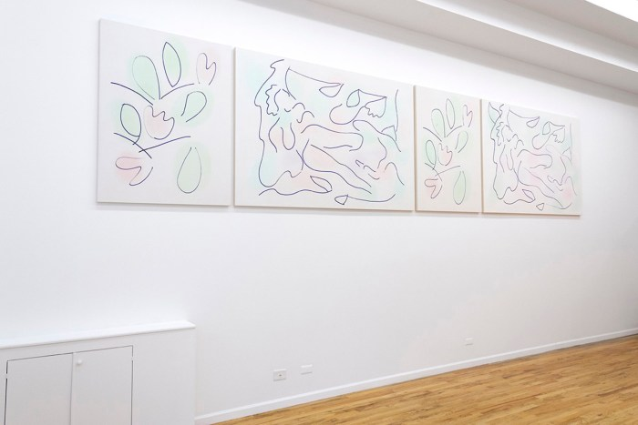 Leda Motif in Pink, Green, Purple and Blue, 2015, oil on canvas, 52 x 240 inches