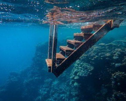 view of wooden steps taken underwater