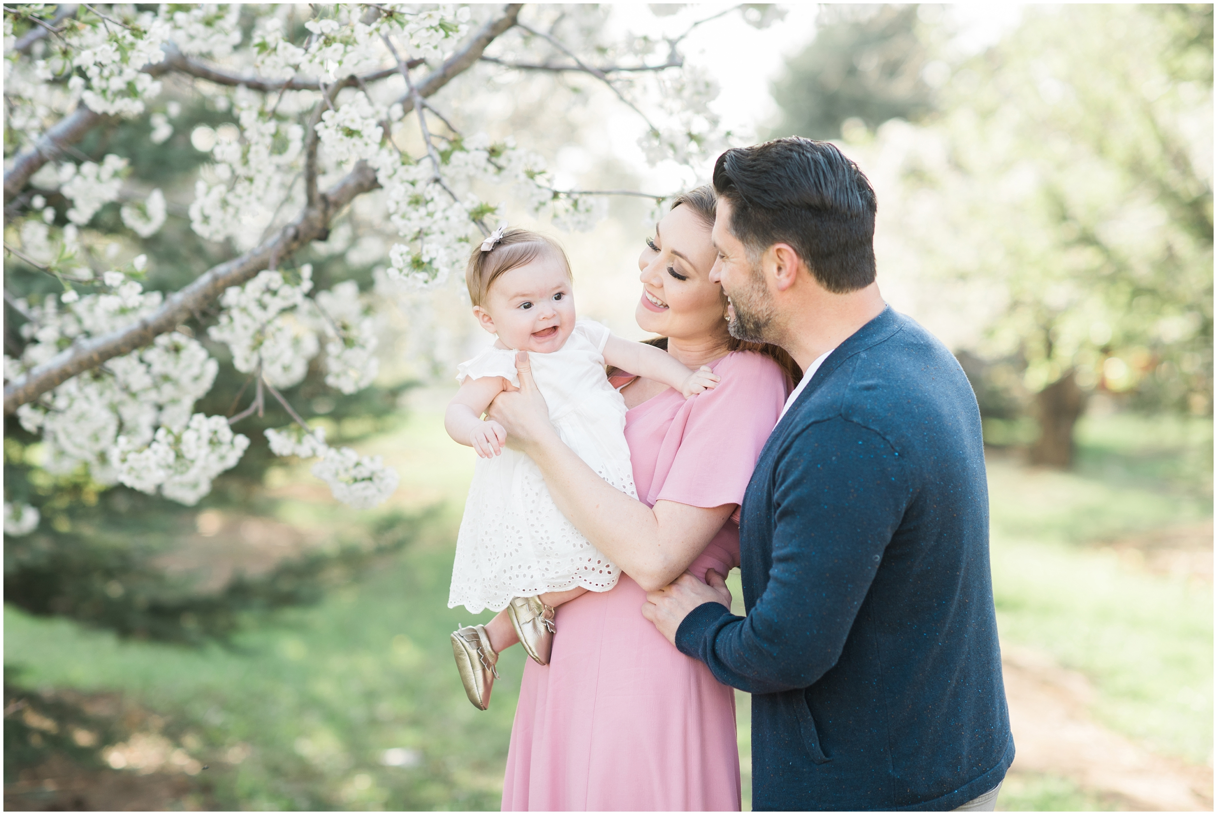 Blush dress, blush and navy blue, spring blooms, long blush dress, down hair, white baby dress, gold shoes, family photographers in Utah, Utah family photographer, family photos Utah, Kristina Curtis photography, Kristina Curtis Photographer, www.kristinacurtisphotography.com