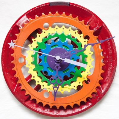 rainbow bike sprocket clock