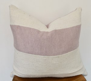 white mudcloth pink linen vintage pillow