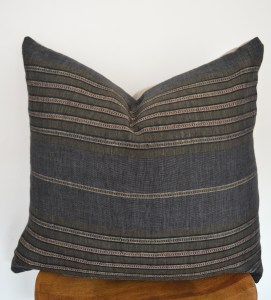 european stripe linen black pillow