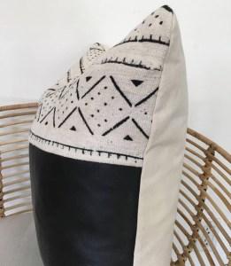 patterned white mudcloth + genuine black leather w/ YKK metal zipper