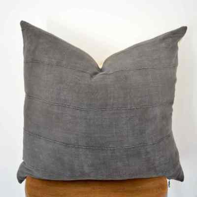 vintage gray mudcloth pillow cover