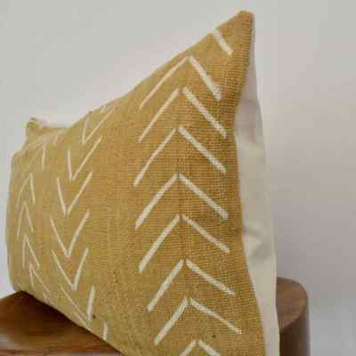 vintage gold mudcloth pillow cover