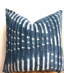faded vintage patterned indigo pillow