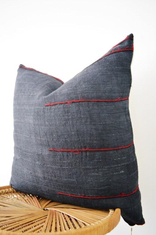 black vintage hmong hemp pillow